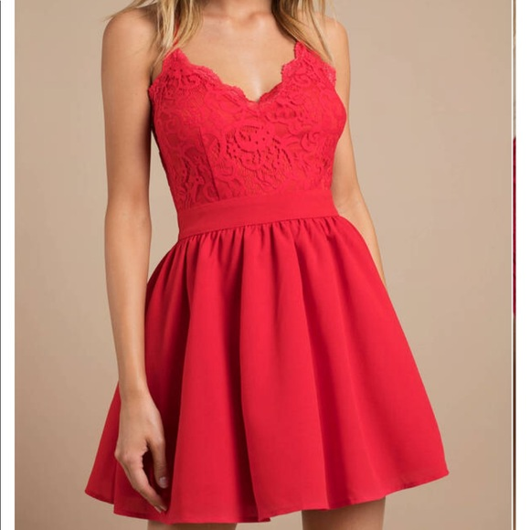 Tobi Mila Red Lace Pleated Skater Dress